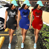 Love Pink Love Pink tight fitted club Dresses Love Pink Victorias Secret Dress Urban Fashion Hip Hop Wear Red Blue Black