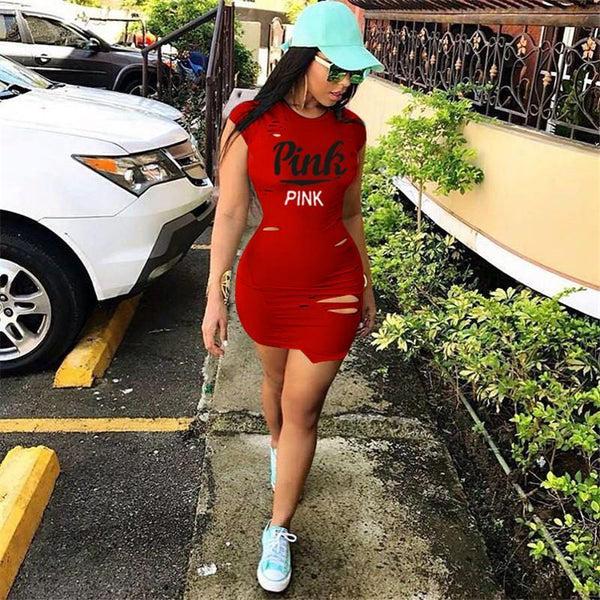 Love Pink Love Pink tight fitted club DressesLove Pink Love Pink tight fitted club Dresses Love Pink Victorias Secret Dress Urban Fashion Hip Hop Wear Red Blue Black
