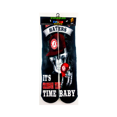 SWIZZLED OUT SOCKS SOCK Alabama Crimson Tide Skull its Game Time Baby