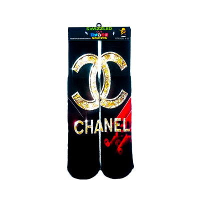 SWIZZLED OUT SOCKS SOCK Black Red Gold Chanel Brand Designer Socks logo