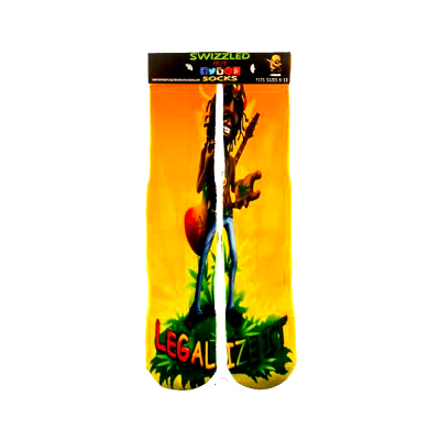 SWIZZLED OUT SOCKS SOCK Bob Marley Rasta man legalize It 420 Socks
