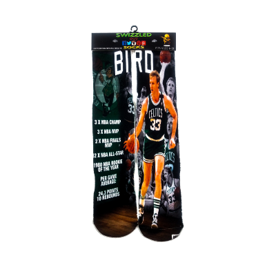 SWIZZLED OUT SOCKS SOCK Boston Celtics Larry Bird Basketball Sock