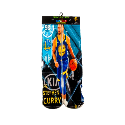 SWIZZLED OUT SOCKS SOCK Golden State Warriors Stephen Curry blue gold Uniform Basketball Socks