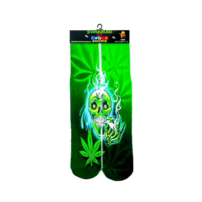 SWIZZLED OUT SOCKS SOCK Green Marijuana Leaf Skull Socks