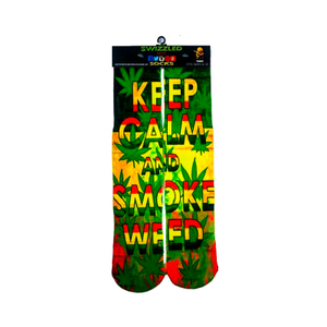 SWIZZLED OUT SOCKS SOCK Keep Calm Smoke Leaf