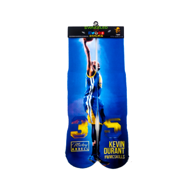 SWIZZLED OUT SOCKS SOCK Kevin Durant Golden State Warriors bLUE GOLD Championship Socks