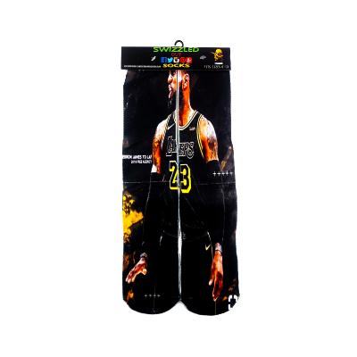 SWIZZLED OUT SOCKS SOCK Lebron James Los Angles Lakers bLACK mAMBA Sock