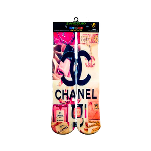SWIZZLED OUT SOCKS SOCK Pink Chanel Perfume Designer fashion brand Socks for women