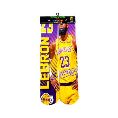 SWIZZLED OUT SOCKS SOCK Purple gold # 23 Lebron James los angles lakers sock