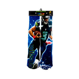 SWIZZLED OUT SOCKS SOCK Seattle Seahawks Quater back Russell Wilson sock
