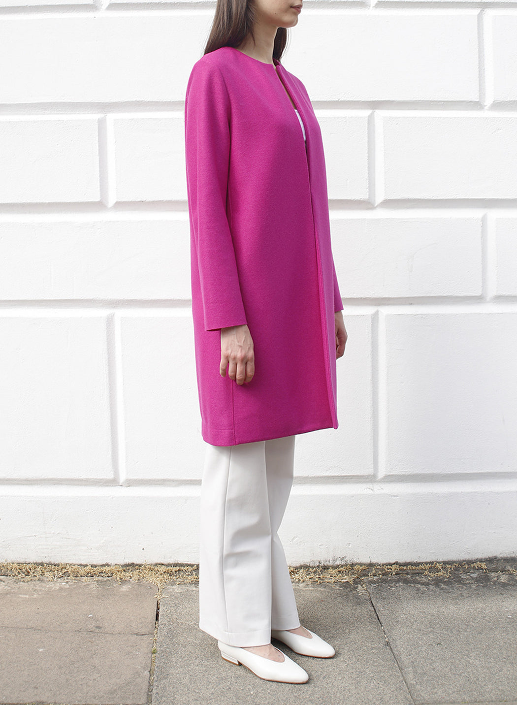 Women collarless coat Light Pressed Wool