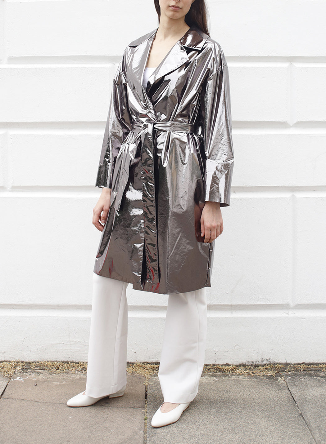 Women dropped shoulder belted coat Laminated
