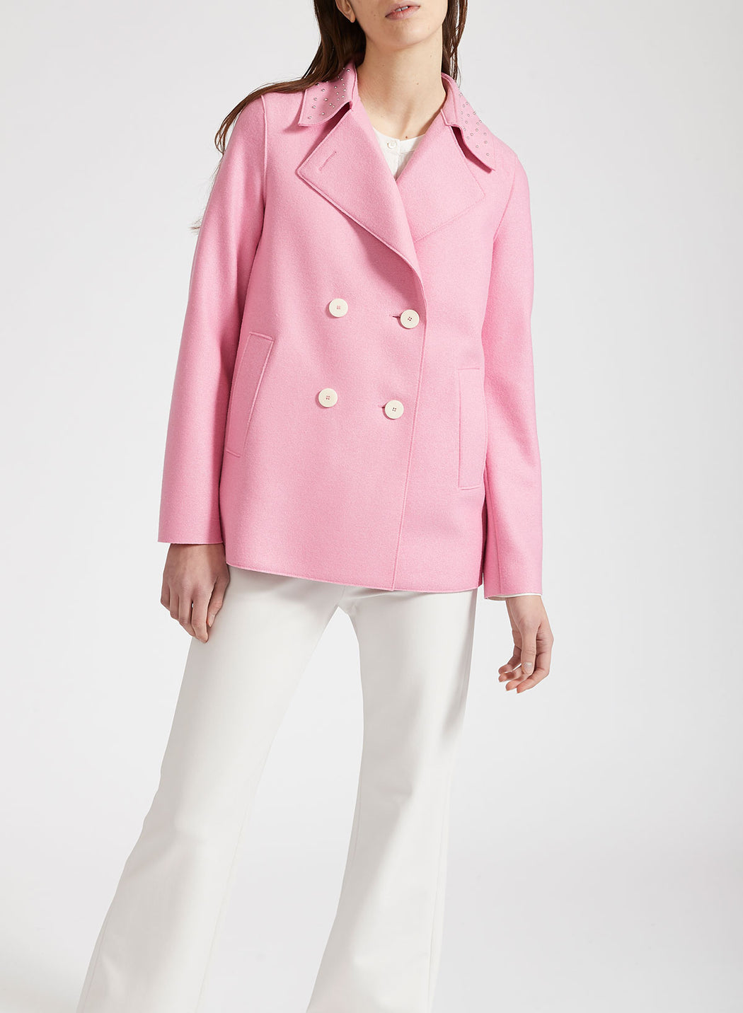 Women peacoat with studs Light P.Wool