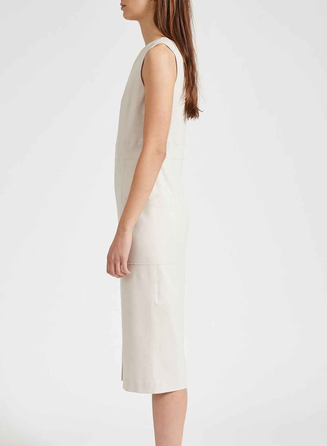 Women front slit dress with pockets Light Viscose