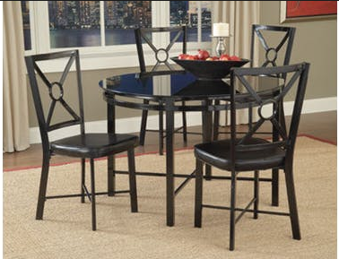 Bernards Diamond Black Glass Dinette Set