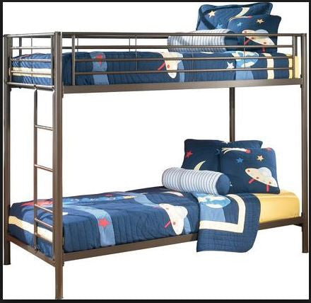Ashley Benjamin Metal Bunk Bed with Two Twin Crayon Mattresses