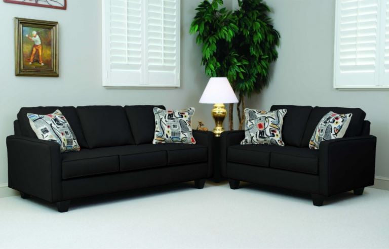 Bernards Graham Black Sofa and Loveseat Living Room Set