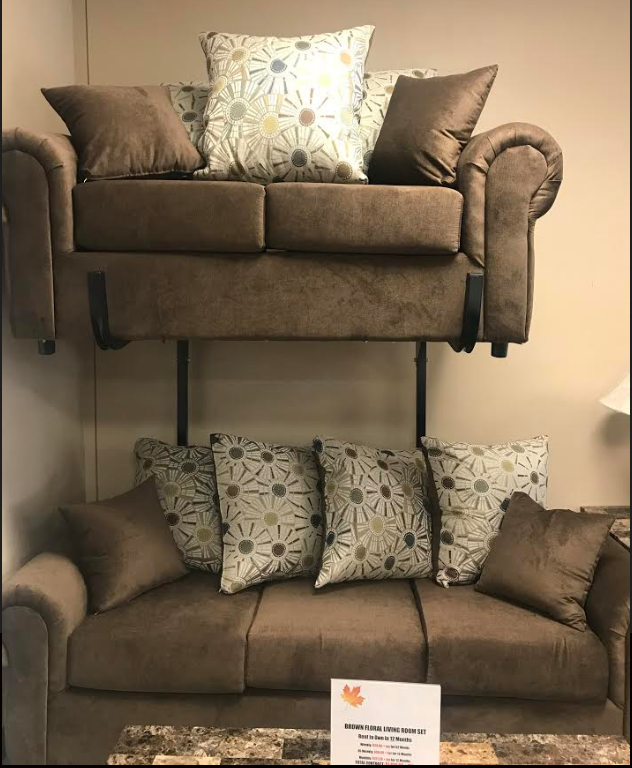Bernard's Brown Floral Fabric Sofa And Love Seat