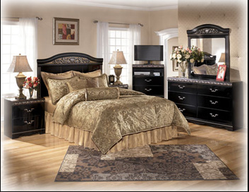 Ashley Constellations bedroom set with pillow top mattress and box spring