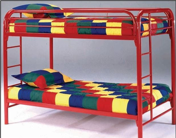 Bernards Edison Red Bunkbed with Bunkie/Twin Crayon Mattresses