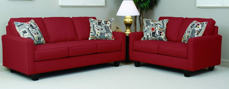 Bernard's Red Graham Sofa And Love Seat