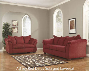 Ashley Furniture Red Darcy Sofa and Loveseat with rug