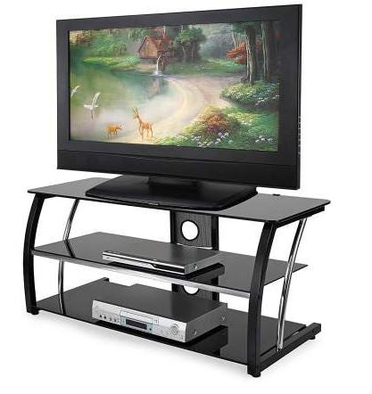 Modern Black Glass Flatscreen TV Stand