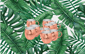 Urban Vintage LA Set of 8 Copper & Stainless-Steel Moscow Mules With Hammered Double Walls