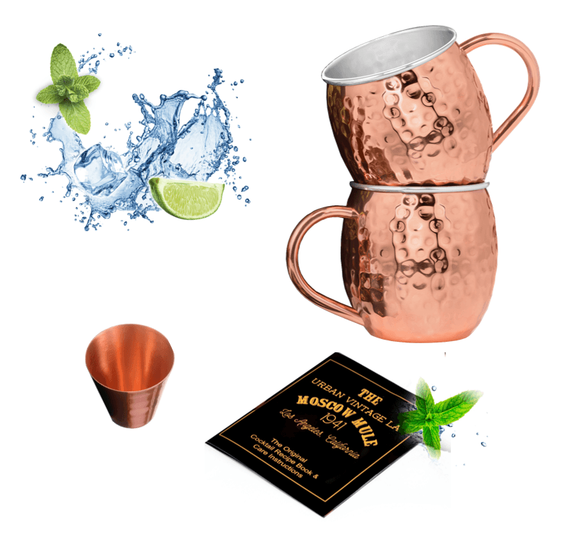 Set of 2 Lined Urban Vintage LA Moscow Mule Copper Mugs and Shot Glass