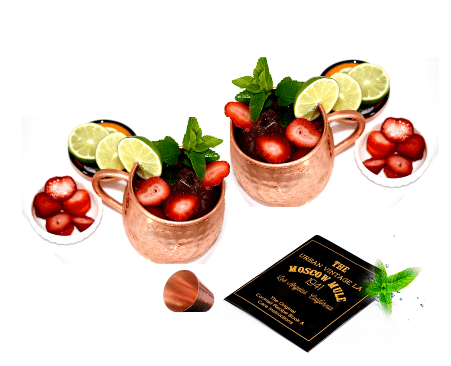 Set of 2 Pure Copper Moscow Mule Mugs by Urban Vintage LA