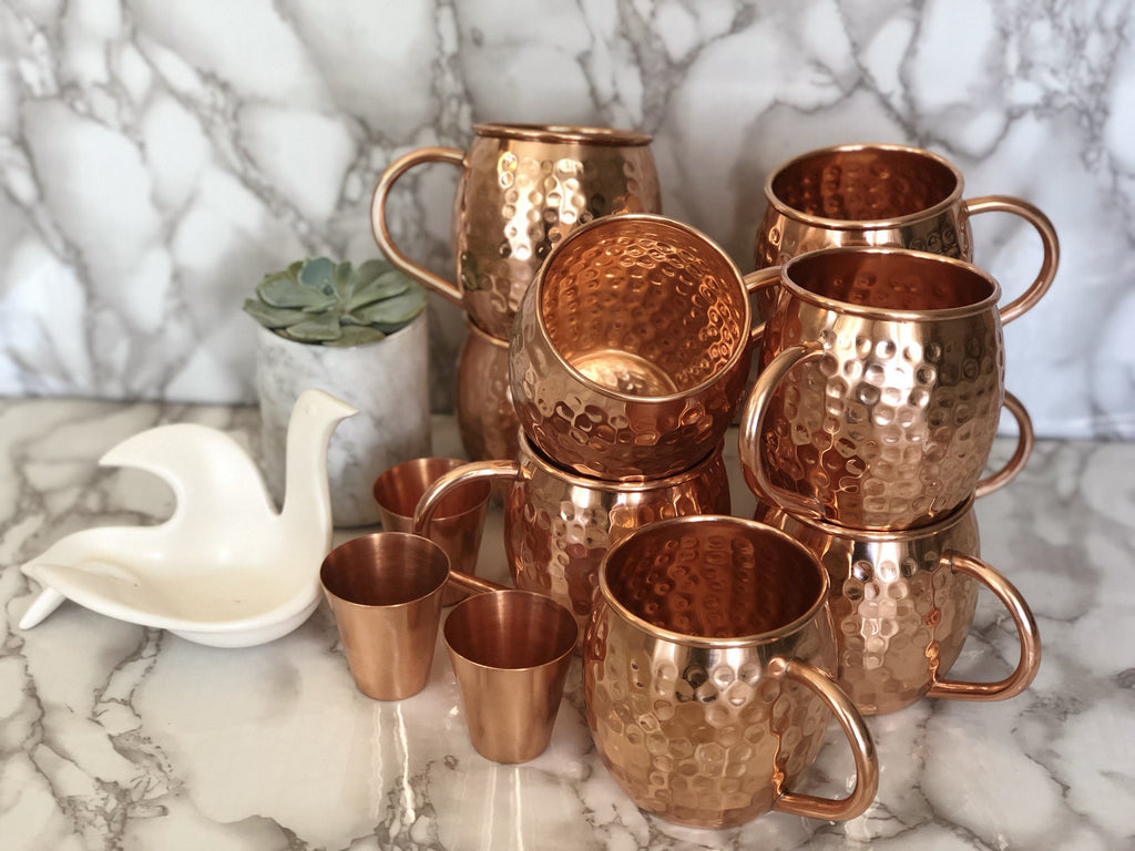 Set of 8 Handcrafted Unlined Moscow Mule Copper Mugs u0026 3 Shot Glasses & Moscow Mule Copper Mugs By Urban Vintage LA