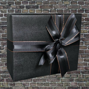 Black Faux Leather Gift Wrapping Paper | Animal Print Textured Paper for Corporate Gifts