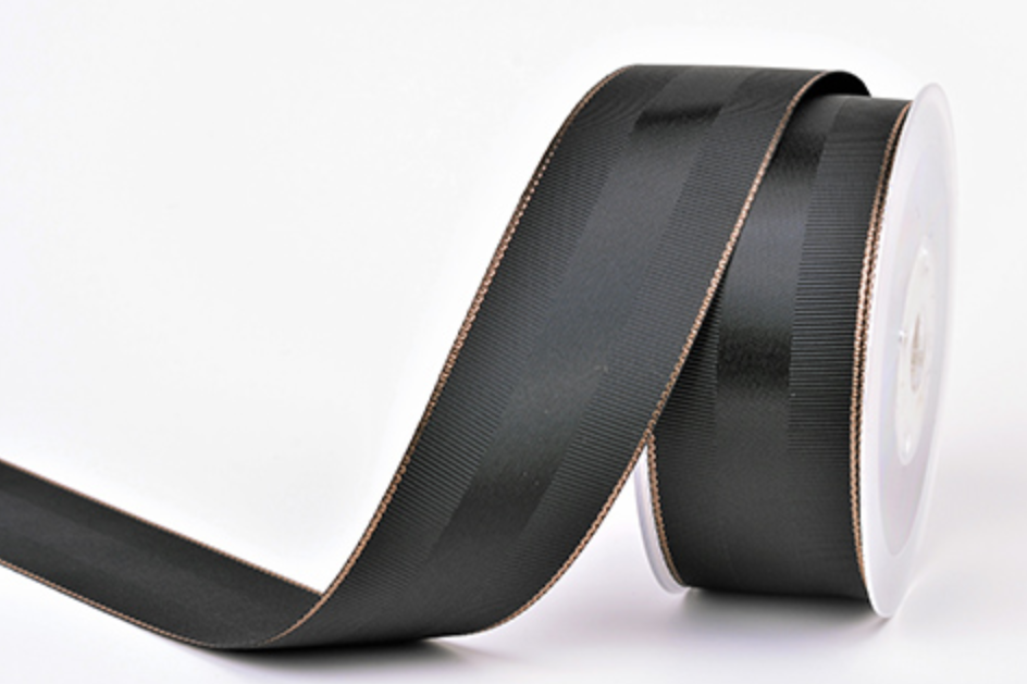 Black Grosgrain Ribbon with Rose Gold Trim 1.5 Inch 30 Yards | Double Face with Satin Strip