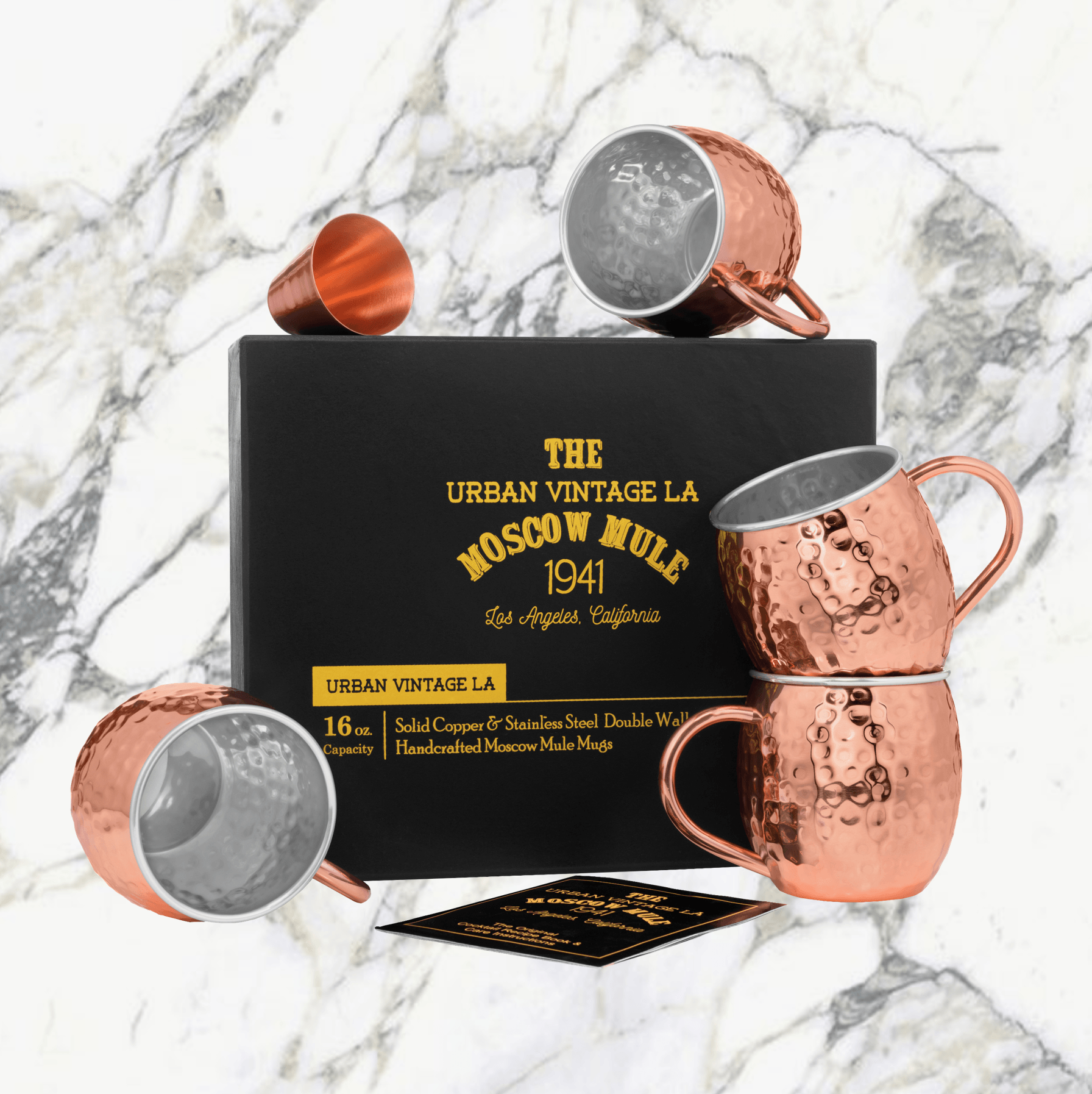 Urban Vintage LA Moscow Mule Copper Mugs Lined With Stainless-Steel Wall and Outer Solid Copper Wall And Bonus Shot Glass and Recipe Book in Black Gift Box