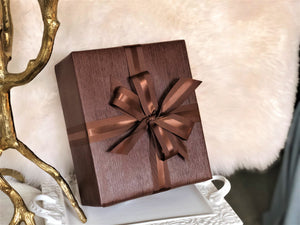 Urban Vintage LA Brown Faux Leather Gift Wrap Paper in Holiday Setting