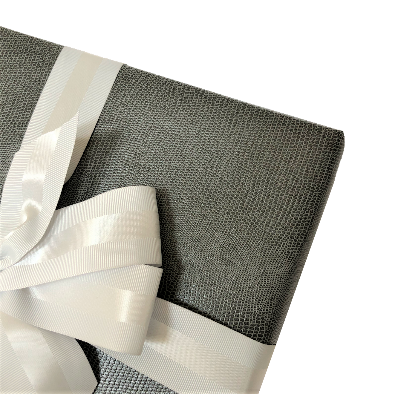 Gray Faux Leather Gift Wrap Paper by Urban Vintage LA Close-Up