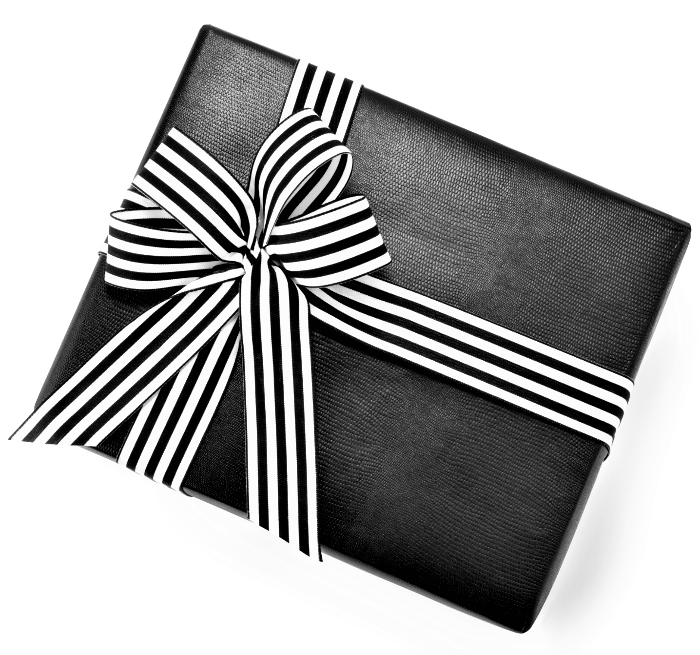 Urban Vintage LA Custom Gift Wrap Featuring Black Faux Leather Paper and Black and White Ribbon
