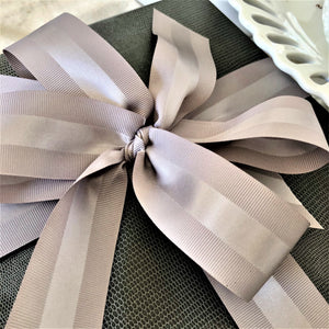 Gray Grosgrain Ribbon | Double Face with Satin Strip for Men's Gifts