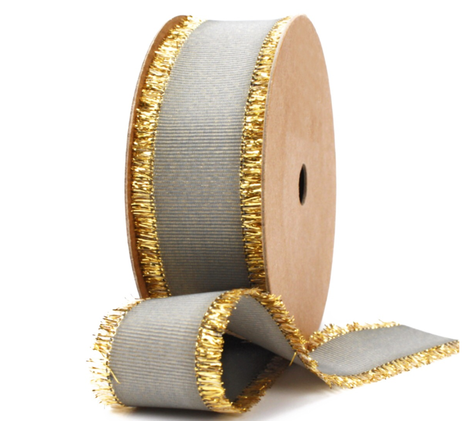Gray Grosgrain Ribbon with Gold Fringe | Metallic Ribbon for Men's Gifts, Christmas Decor