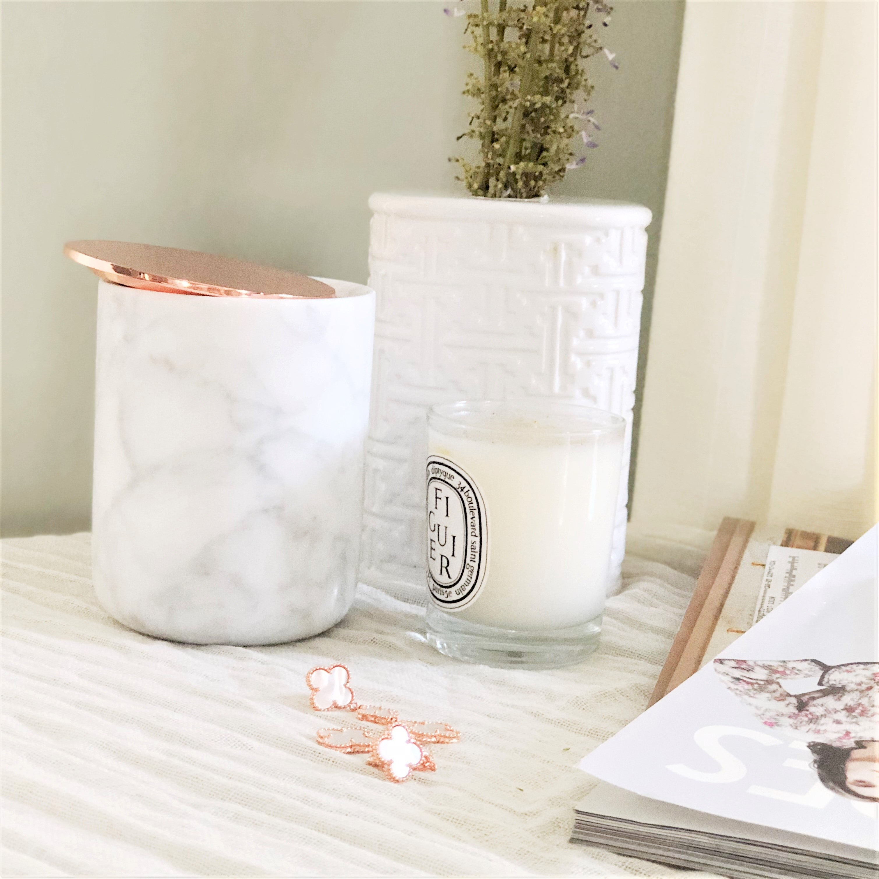Gray & White Marble Jar with Rose Gold Lid