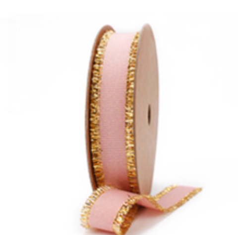 Light Pink Grosgrain Ribbon with Gold Trim, 5/8 inch | Metallic Ribbon for Girl's Gifts, Party Decor