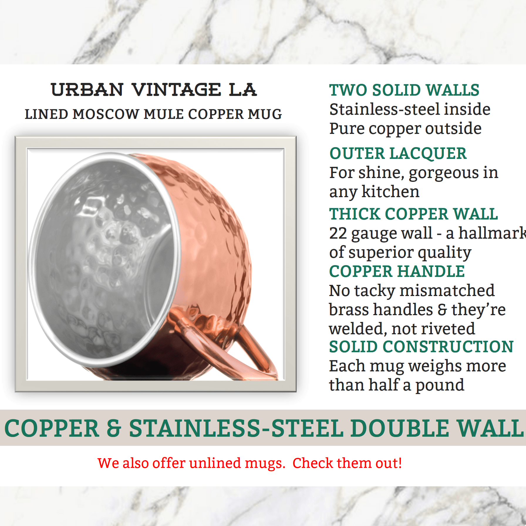 Urban Vintage LA Moscow Mule Copper Mug With Double Wall Inner Stainless-Steel and Outer Wall of Solid Copper