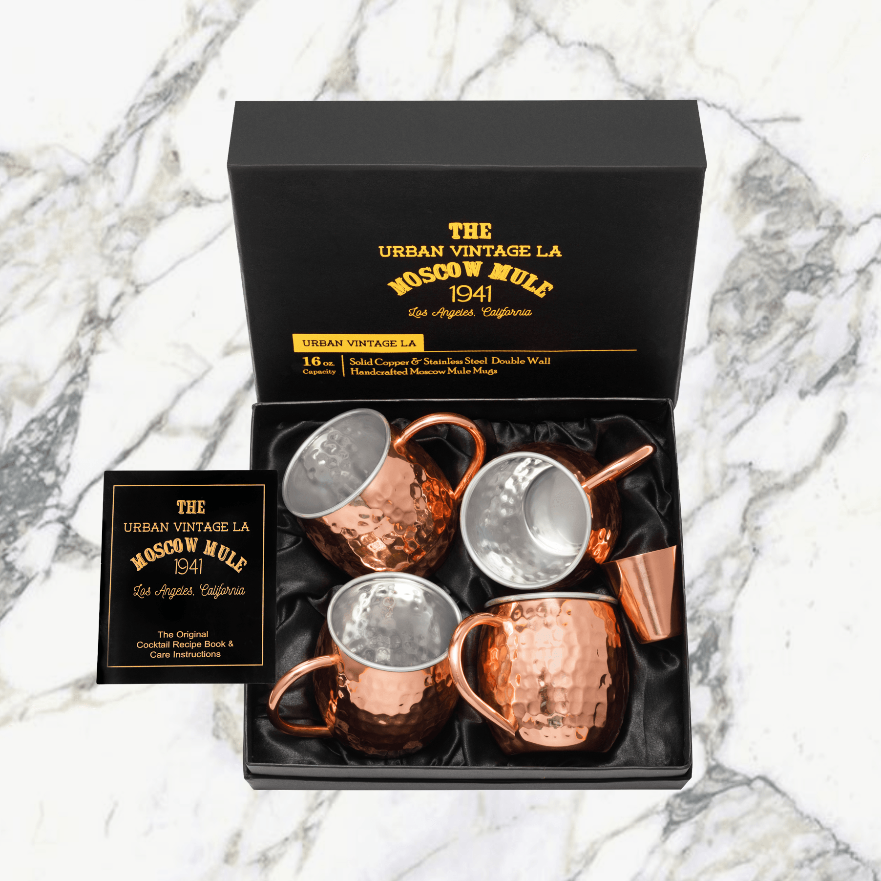 Urban Vintage LA Moscow Mule Copper Mugs in Black Gift Box With Bonus Shot Glass and Illustrated Recipe Book and Care Guide Ready for Gifting