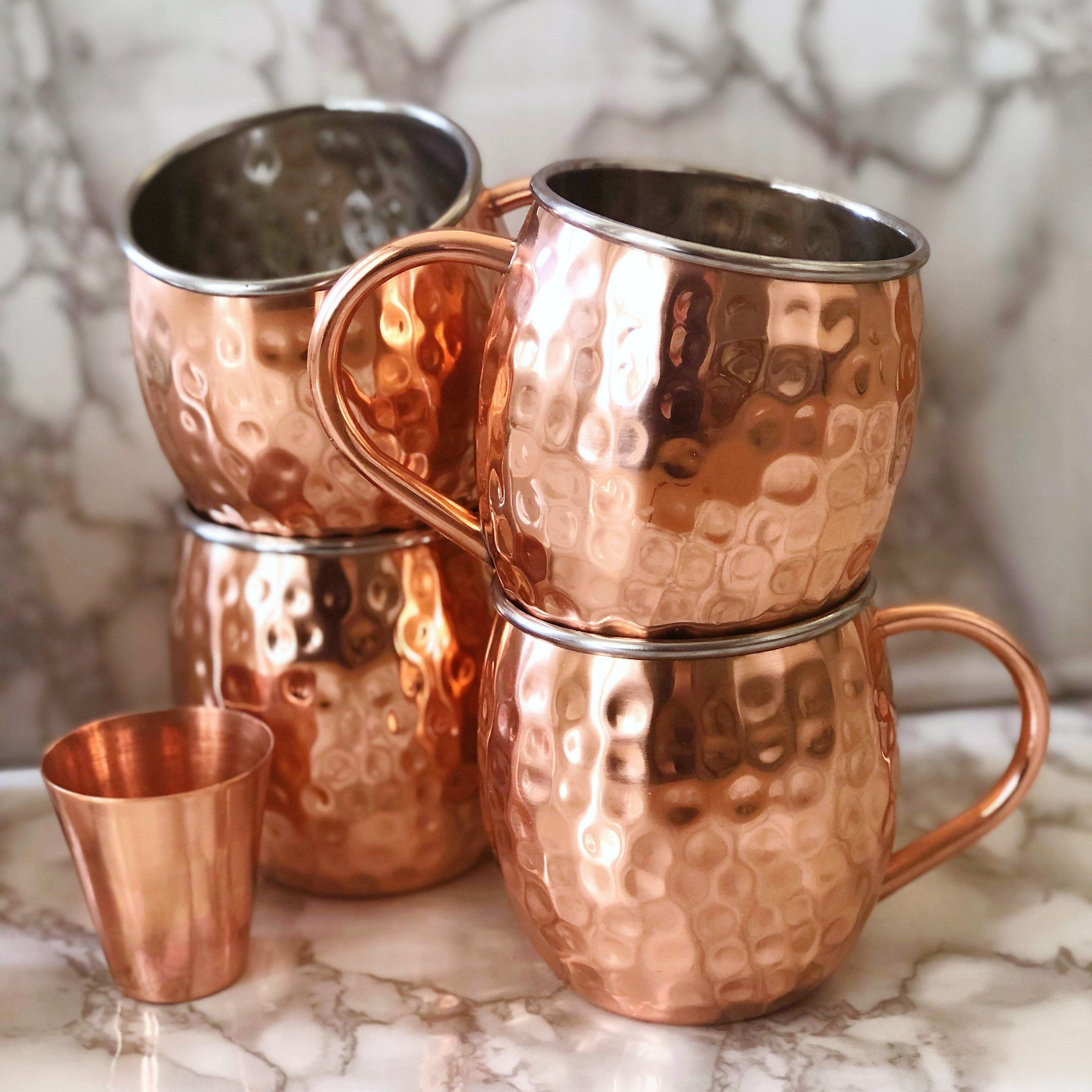 Urban Vintage LA Set of 4 Lined Moscow Mule Copper Mugs with Marble Background