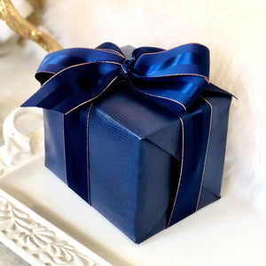 Urban Vintage LA Navy Blue Faux Leather Gift Wrap Paper with Matching Grosgrain Ribbon
