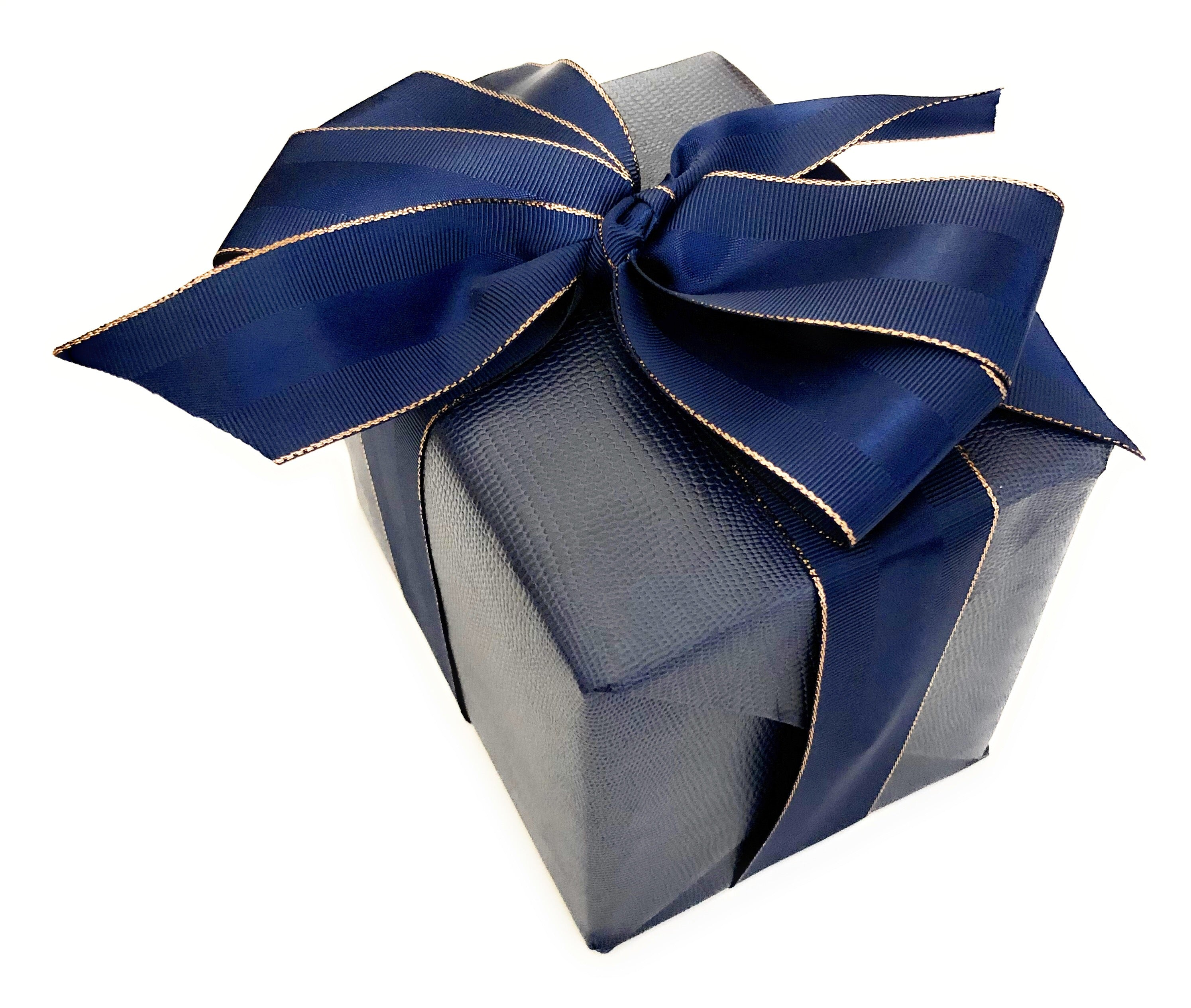 Urban Vintage LA Navy Blue Faux Leather Gift Wrap Paper with Matching Navy Blue Grosgrain Ribbon