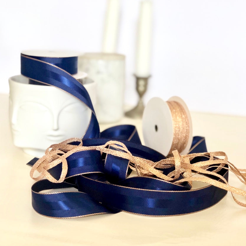 Navy Blue Grosgrain Ribbon with Rose Gold Border | Metallic Ribbon for Men's Gifts