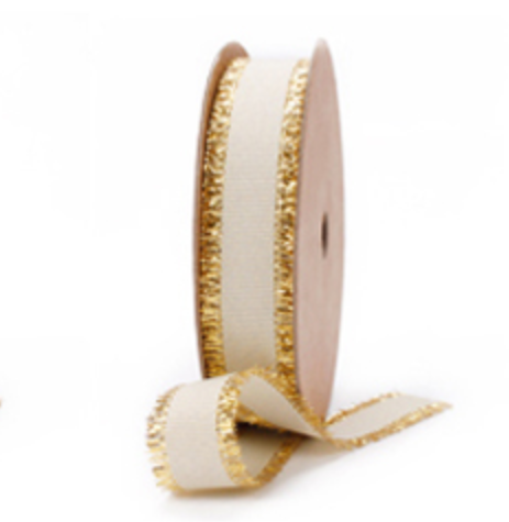 Beige Grosgrain Ribbon with Gold Trim, 5/8 inch | Metallic Ribbon for Holiday Gifts, Party Decor