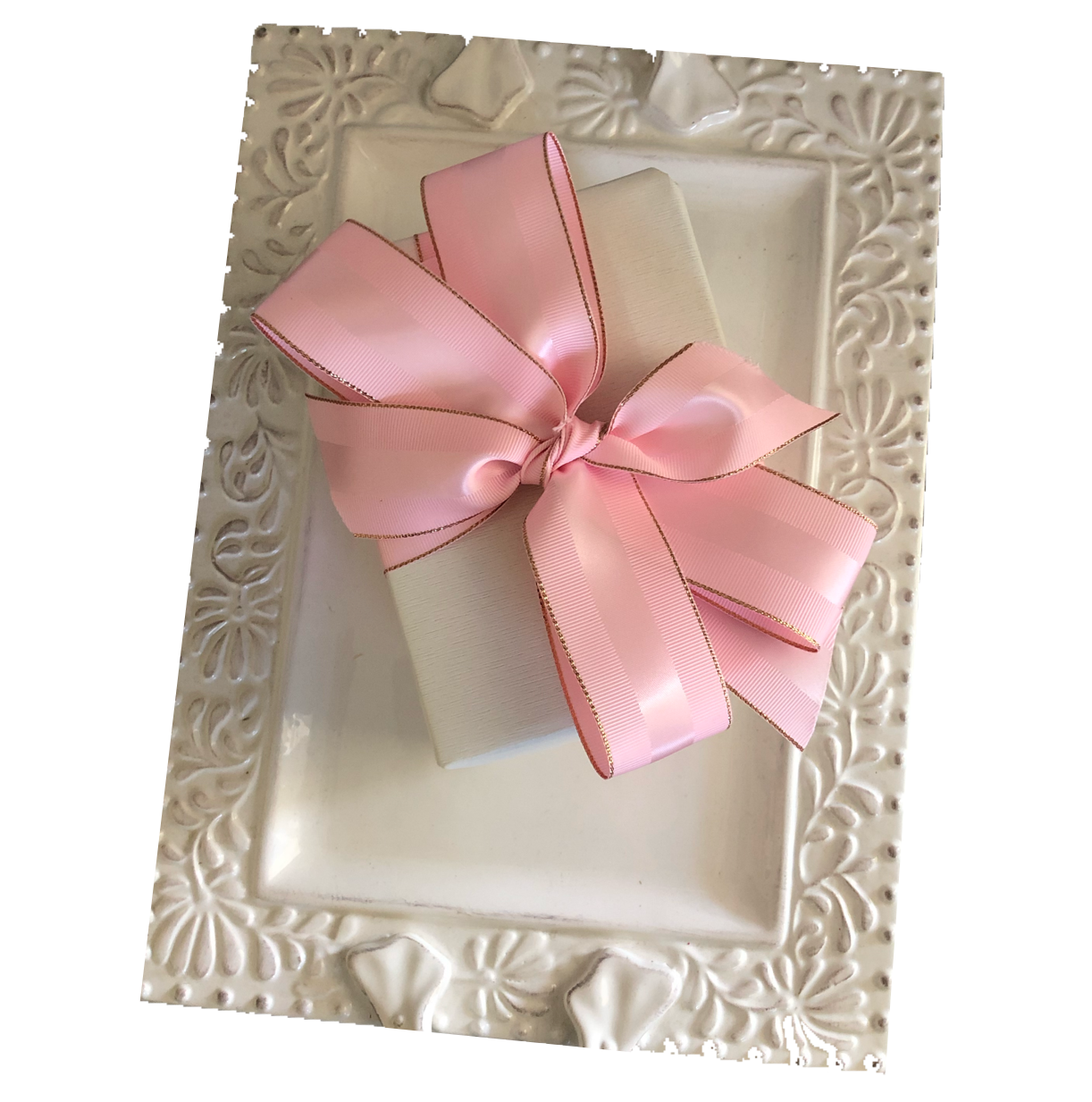Pink Grosgrain Ribbon with Rose Gold Border | Metallic Ribbon for Holiday Gifts