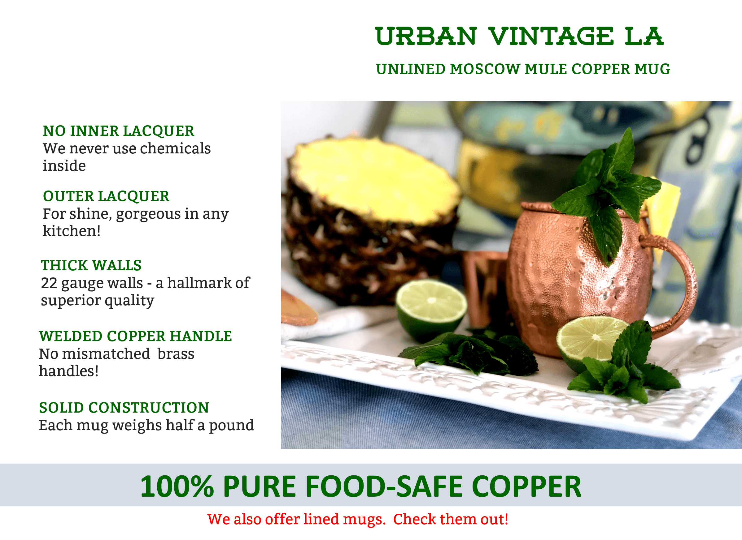 Urban Vintage LA Moscow Mule Copper Mug Features Including Barrel Shape Hammered Design With Welded Solid Copper Handle and Thick 22 Gauge Construction